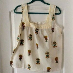 NWT LUCKY BRAND SQUARE NECK SLEEVELESS BLOUSE,Sz L